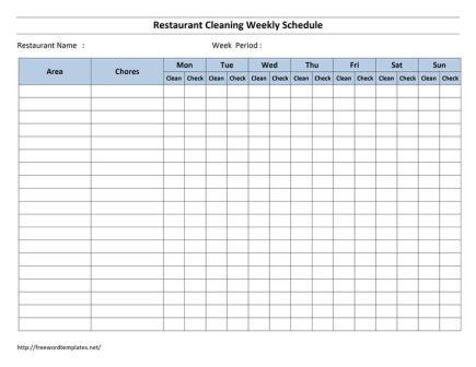 cleaning schedule, outlining duties and areas of responsibility of staff tasked with maintaining restaurant kitchen and cool room hygiene
